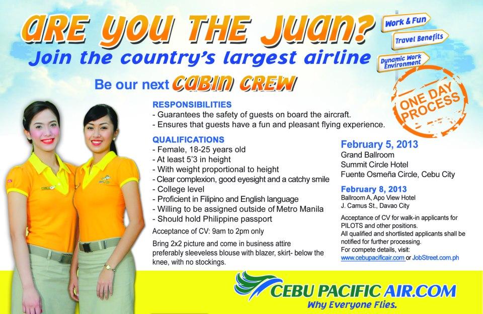 Cebu Pacific Air Job Hiring Of Cabin Crew Pilots And